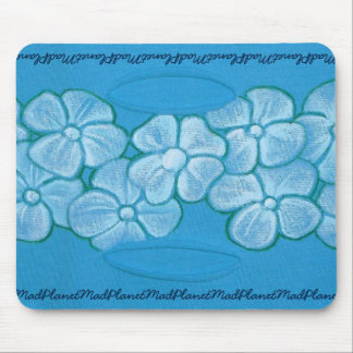 White Flowers Hand Painted on Ripped Fabric Mouse Pad