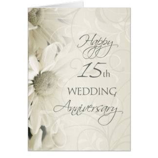 White Flowers Happy 15th Wedding  Anniversary Card