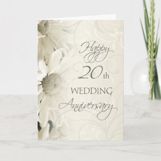 20th wedding anniversary flower white flowers happy 20th wedding anniversary card zazzle 1061