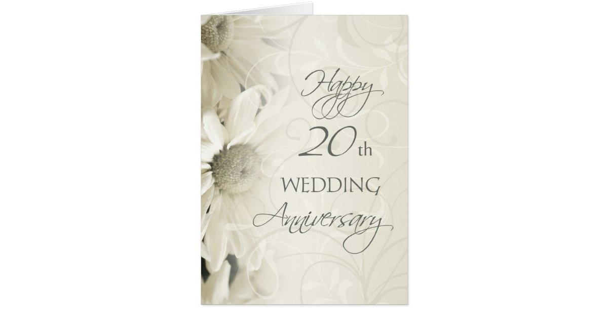white flowers happy 20th wedding anniversary card. Black Bedroom Furniture Sets. Home Design Ideas