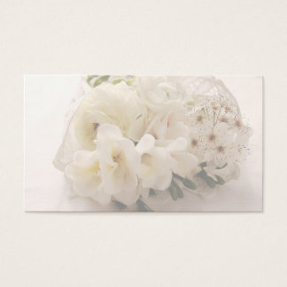 white flowers in lace business card