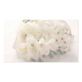 white flowers in lace pack of standard business cards