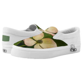 White flowers in the green nature slip on shoes