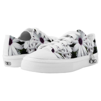 White Flowers Low Top Shoes Printed Shoes