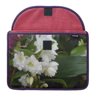White Flowers Sleeves For MacBooks