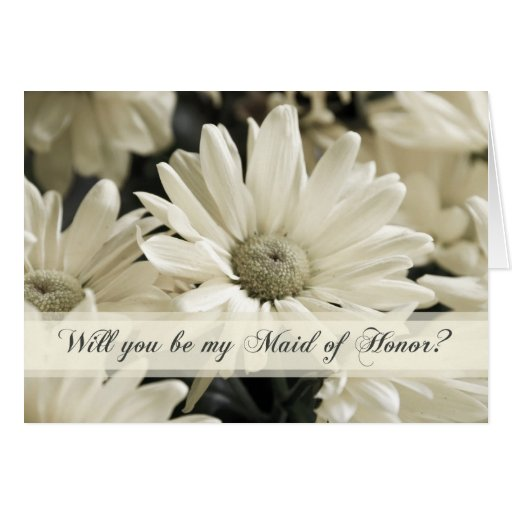 White Flowers Maid of Honor Invitation Card