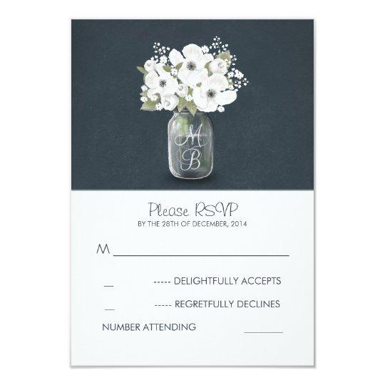 white flowers mason jar rustic wedding RSVP cards