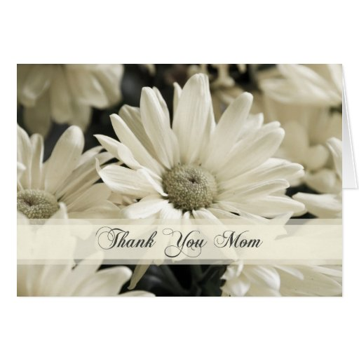 White Flowers Mom Wedding Day Thank You Card