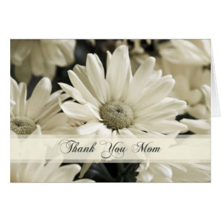 White Flowers Mum Wedding Day Thank You Card