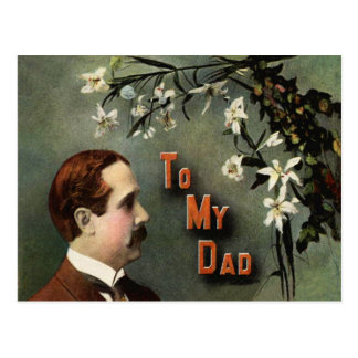 White Flowers Mustache Vintage Father's Day Postcard