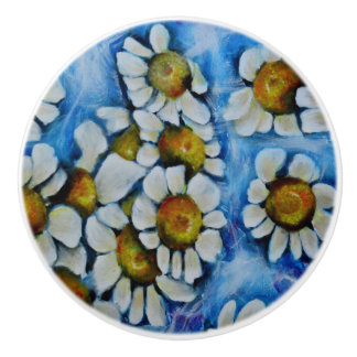 White Flowers on a Blue background Ceramic Knob