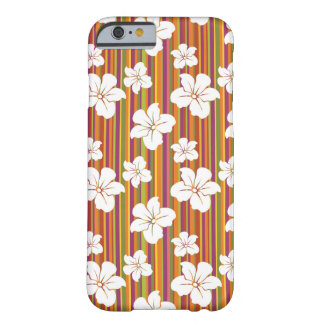White flowers on a striped background barely there iPhone 6 case