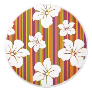 White flowers on a striped background ceramic knob