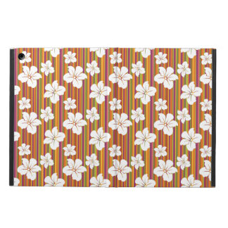 White flowers on a striped background cover for iPad air