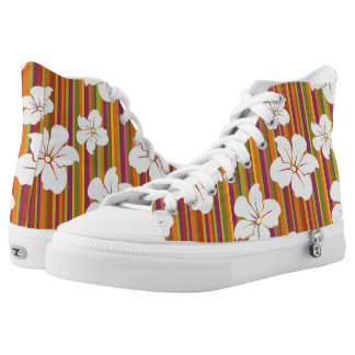 White flowers on a striped background high tops