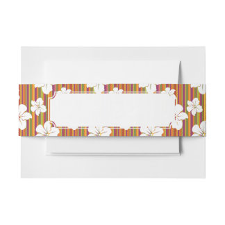 White flowers on a striped background invitation belly band