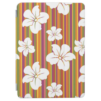 White flowers on a striped background iPad air cover