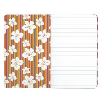 White flowers on a striped background journal