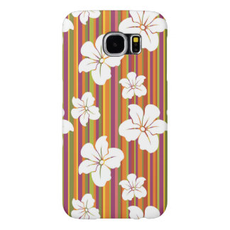 White flowers on a striped background samsung galaxy s6 cases