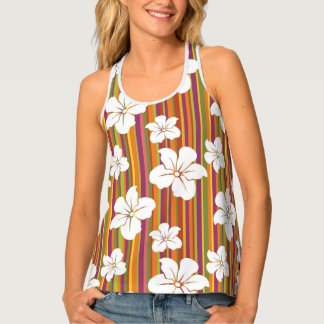 White flowers on a striped background tank top