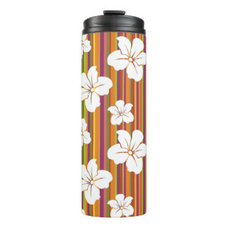 White flowers on a striped background thermal tumbler