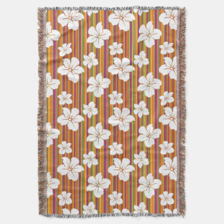 White flowers on a striped background throw blanket