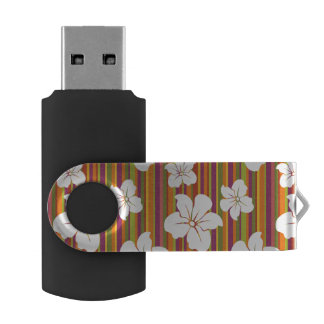 White flowers on a striped background USB flash drive