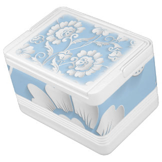 White Flowers On Baby Blue Igloo Cool Box