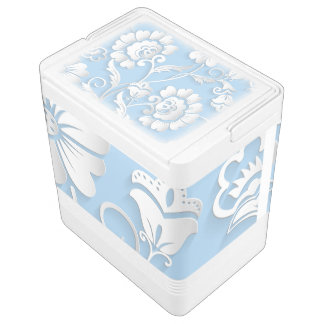 White Flowers On Baby Blue Igloo Cooler