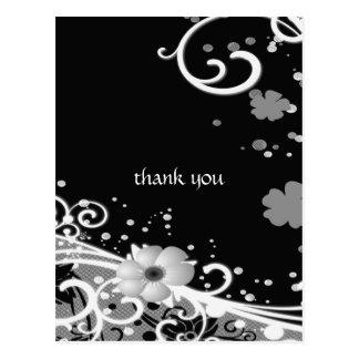 White Flowers on Black Postcard