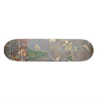 White Flowers on Newsprint Background 21.6 Cm Skateboard Deck