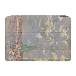 White Flowers on Newsprint Background iPad Mini Cover