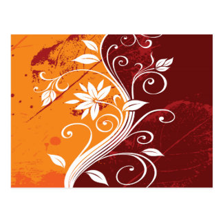 White Flowers on Orange and Burgundy Grunge Postcard