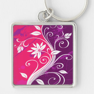 White Flowers on Pink and Purple Grunge Keychains