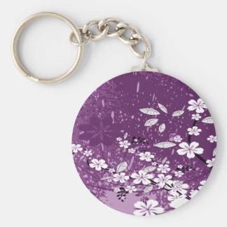 White Flowers on Purple Grunge Key Chain