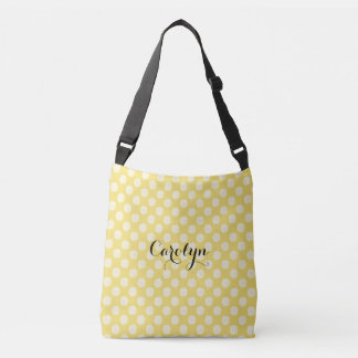 White Flowers on Yellow Add Name Customized Bag