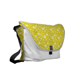 White Flowers on Yellow Messenger Bags