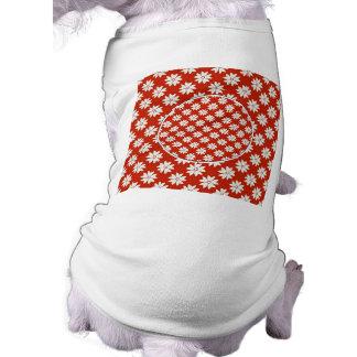 White flowers pattern sleeveless dog shirt