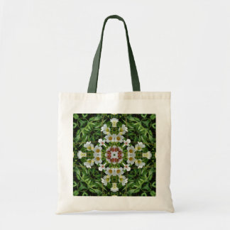 White flowers pattern tote budget tote bag