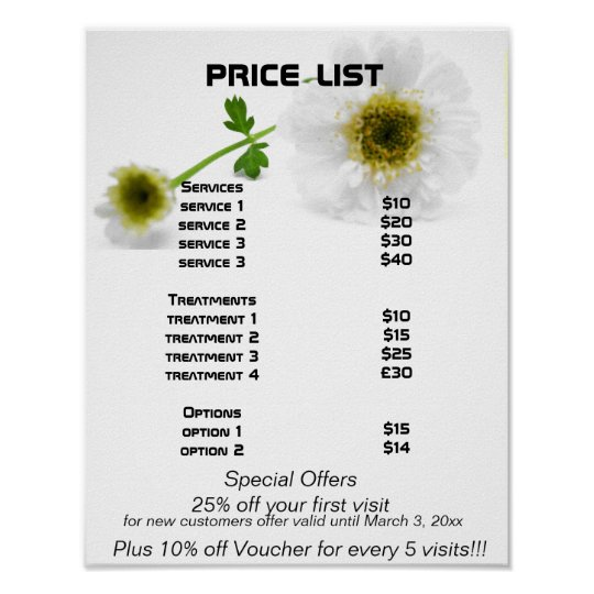 White Flowers Reiki Zen Price List Poster Zazzle