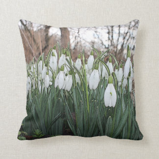 White flowers, spring snowdrops cushion