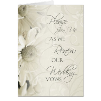 White Flowers Vow Renewal Ceremony Invitation Card