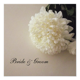 "White Flowers Wedding Invitations 5.25"" Square Invitation Card"