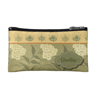 White flowers with green and yellow trim makeup bag