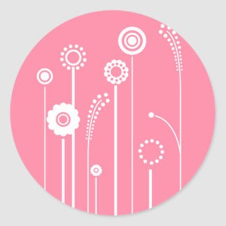 White Flowers with Pink Background Classic Round Sticker