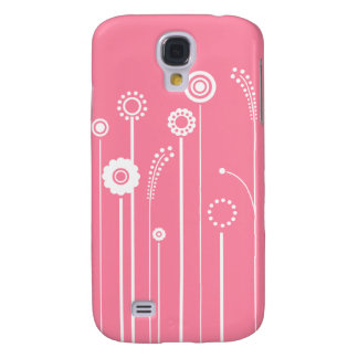 White Flowers with Pink Background Galaxy S4 Case