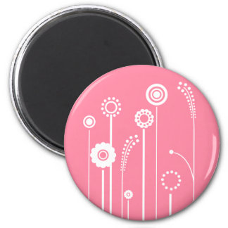 White Flowers with Pink Background Magnet