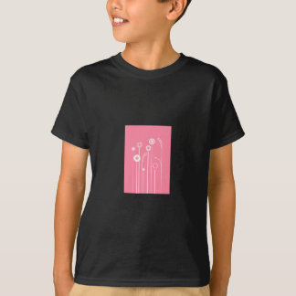 White Flowers with Pink Background T-Shirt