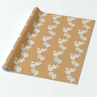 White Flowers Wrapping Paper on Tan Background