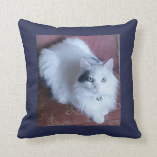 White fluffy cat cuddly long haired cute sofa cushion